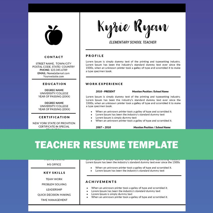 teacher resume template word cover letter template teaching resume educator resume education resume elementary resume school cv