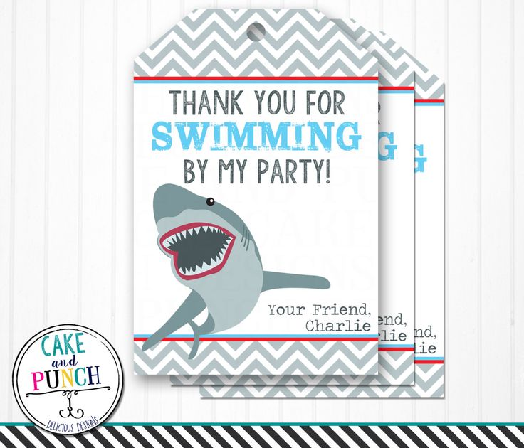 Shark Birthday Party Favor Tags- Swimming Party Favor Labels- Digital and Printable by cakeandpunchdesigns on Etsy https://www.etsy.com/listing/234434931/shark-birthday-party-favor-tags-swimming