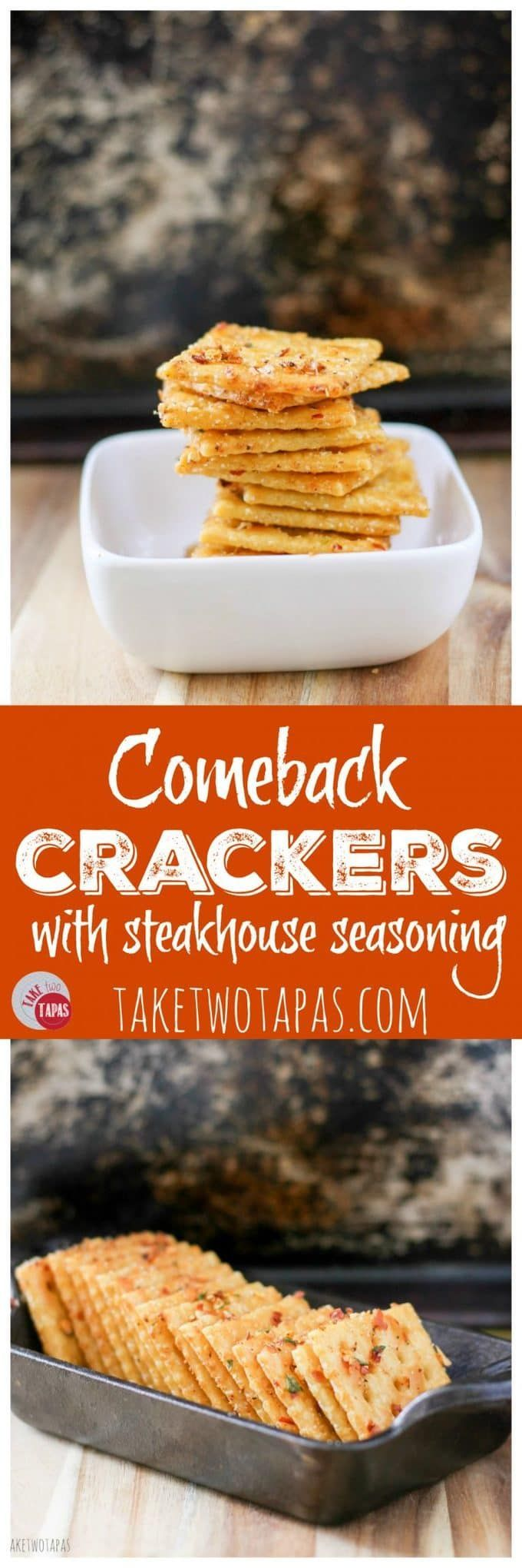 These spicy and crispy crackers are light and flaky with a little kick to them. they are so addicting and they will keep you coming back for more! Comeback Crackers Recipe | Take Two Tapas #Comeback #Crackers #Saltines