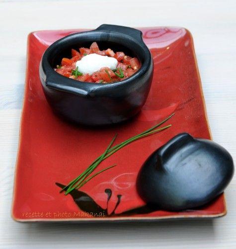 Fondue d'aubergines sur lit de quinoa à la noix de cajou et son tartare de tomates (cuissons poêle, vapeur et cocotte)