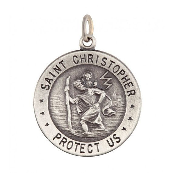 Sterling Silver Large Saint Christopher Pendant