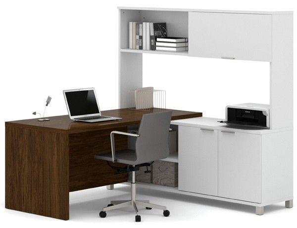 Bestar - Pro-Linea White & Oak Barrel Door L-Desk With Hutch - 120884-30