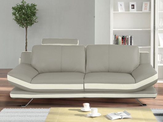 Canape 3 Places En Cuir Latika Bicolore Beige Et Ivoire Home Decor Love Seat Furniture