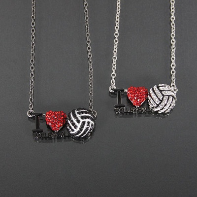I love volleyball  necklace with bling--so cute!
