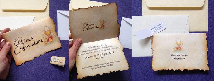 #partecipazioni per la prima #comunione in #carta con #busta e #bigliettino per #confetti