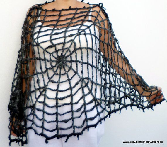 Spider Web Plus Size Gothic Halloween Hippie Poncho Capelet