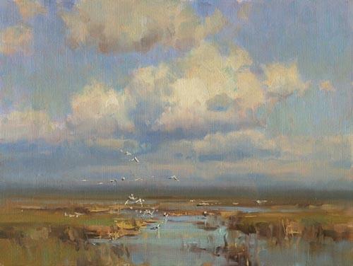 """Fremont Lake,"" by Scott L. Christensen, oil, 12 x 12 in."