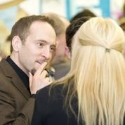 Mr Derren Brown talking to Miss Gaby Roslin