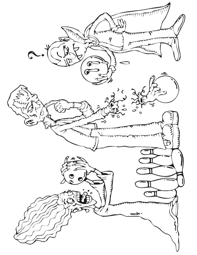 Frankenstein Coloring Page Of Frankie Losing An Arm Bowling Excellent Free Printable Activity For Kids Who Love Monsters