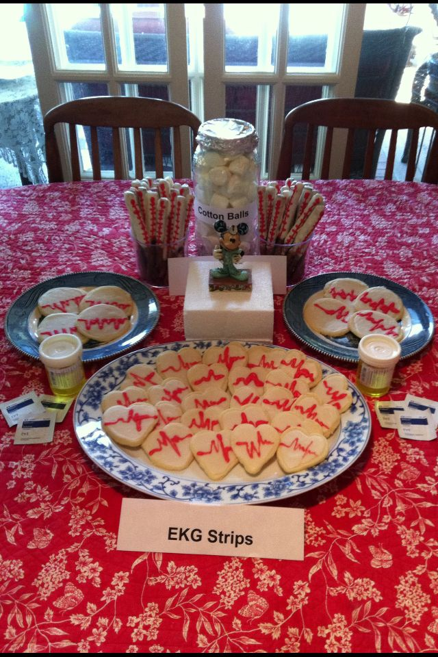 "Dessert Table: ""Heart EKG"" sugar cookies, Thermometer"" pretzel rods dipped in white chocolate and ""Cotton ball"" marshmallows"