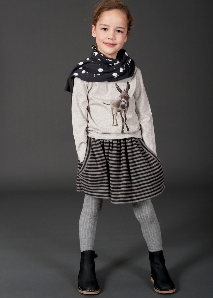 Donkey tee, draped scarf & skirts with tights. Gotta love the winter layering.