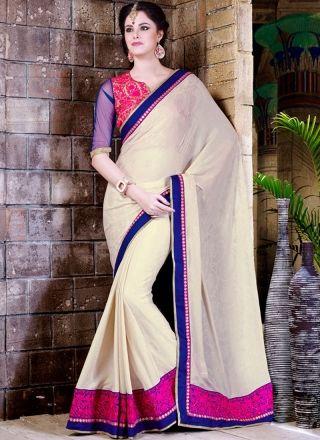 Charming Off White Designer Party Wear Saree http://www.angelnx.com/Sarees