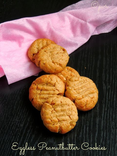 Priya's Versatile Recipes: Eggless Peanut Butter Cookies~~Home Baker's Challenge#3