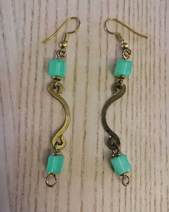 Afrocentric handcrafted earrings green dangling earrings