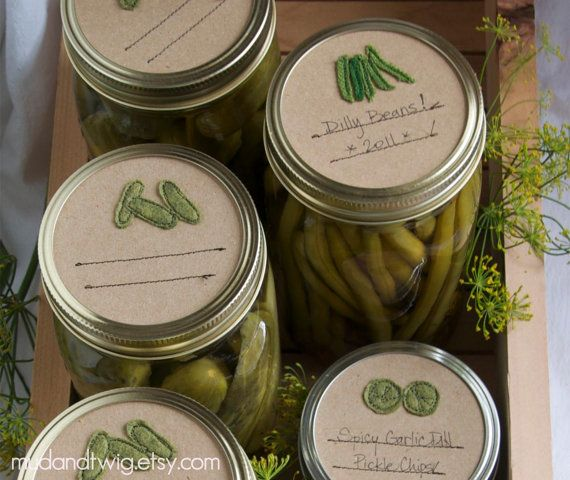 Mason jar gift labels green beans 6pc regular or by mudandtwig