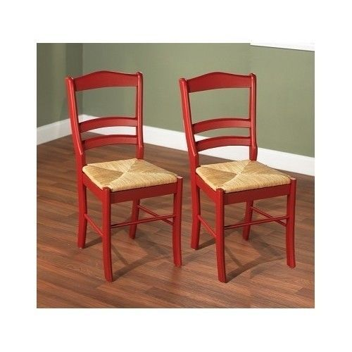 Dining Table Chairs Woven Rush Seat Red Wood Finish Set Room Furniture Side Pair
