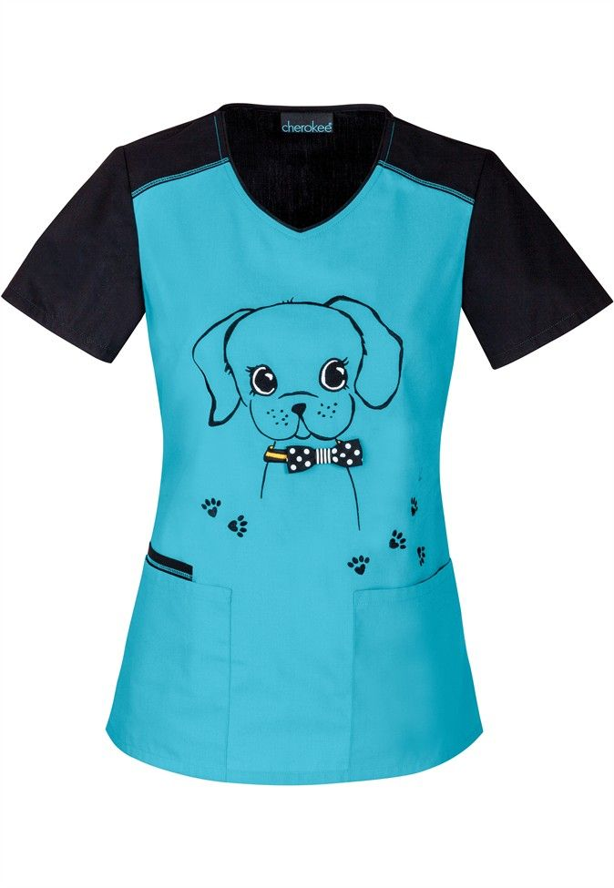 adorable doggie design scrub top! need this for work so bad. <3 via: scrubsandbeyond.com