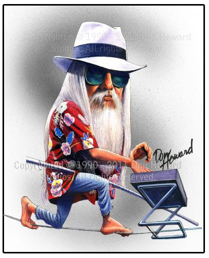 Don Howard Leon Russell Celebrity Caricature
