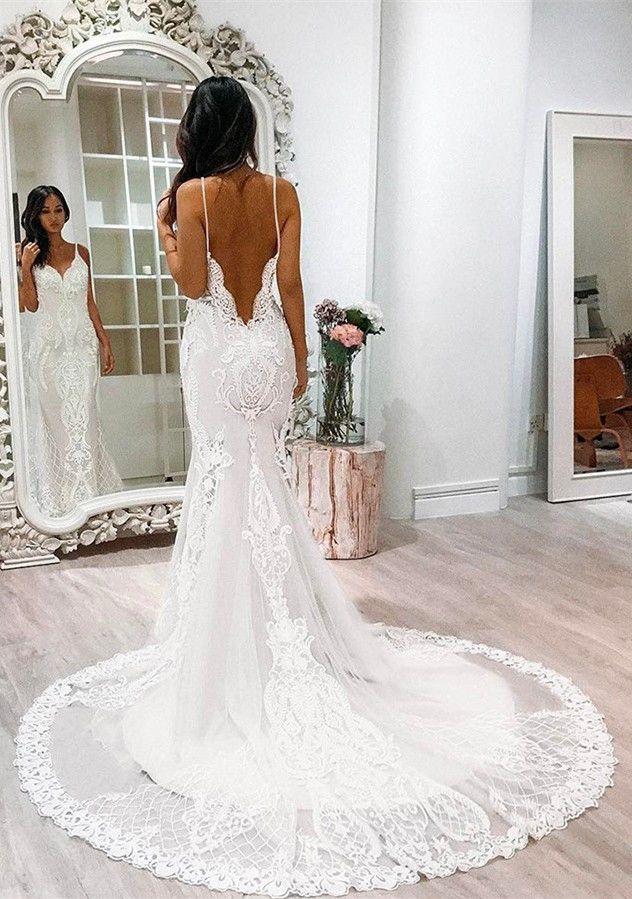 Backless lace wedding dresses pinterest