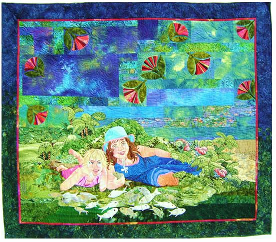 Mary Transom - Quilt Artist Girls Go Fishing, portrait of my nieces.