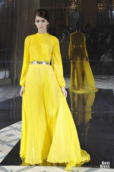 Yellow dress haute couture
