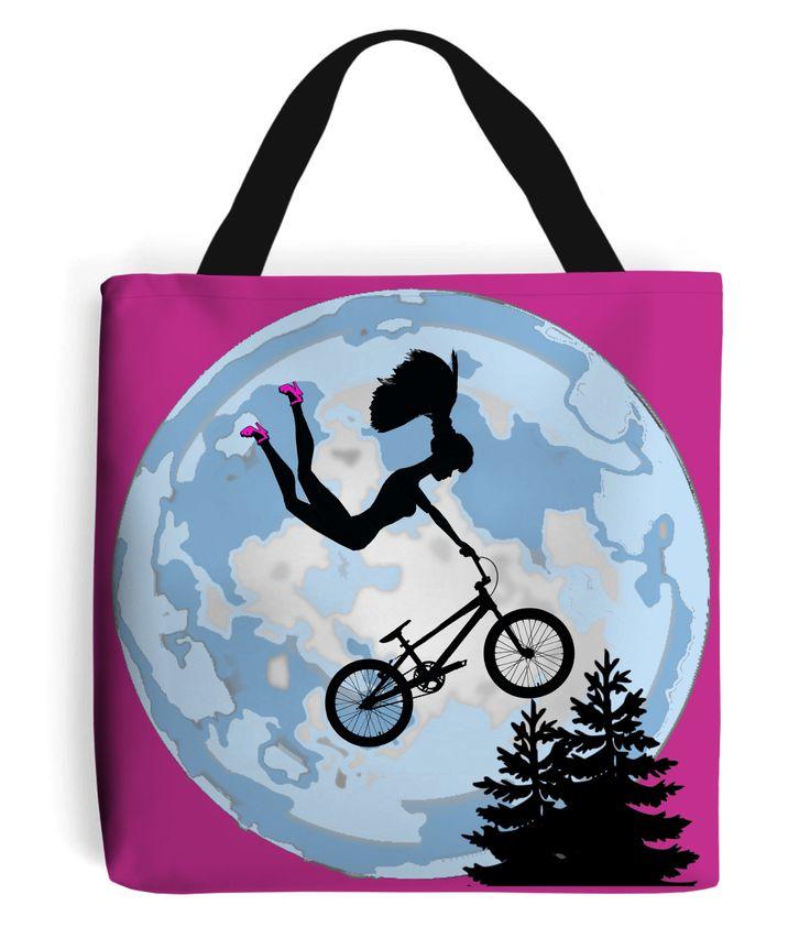 BMX Airtime Tote Bag #ET #Movie #Film #Barbie #Humour #PinkStilettos #Art at: www.plasticpam.com