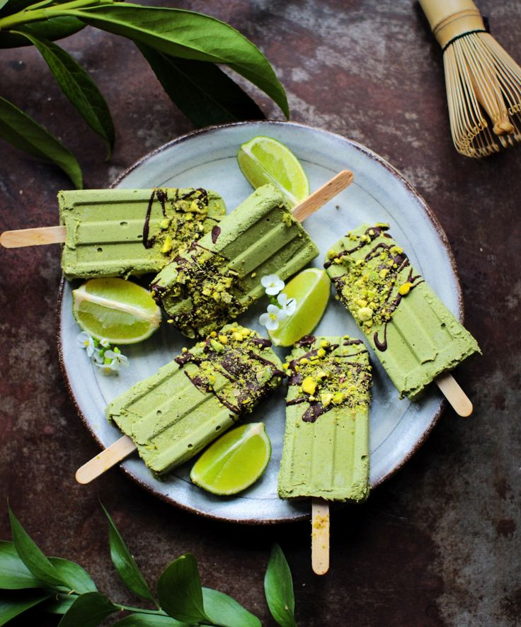 Matcha & Avocado Popsicles dipped in Chocolate & Pistachios