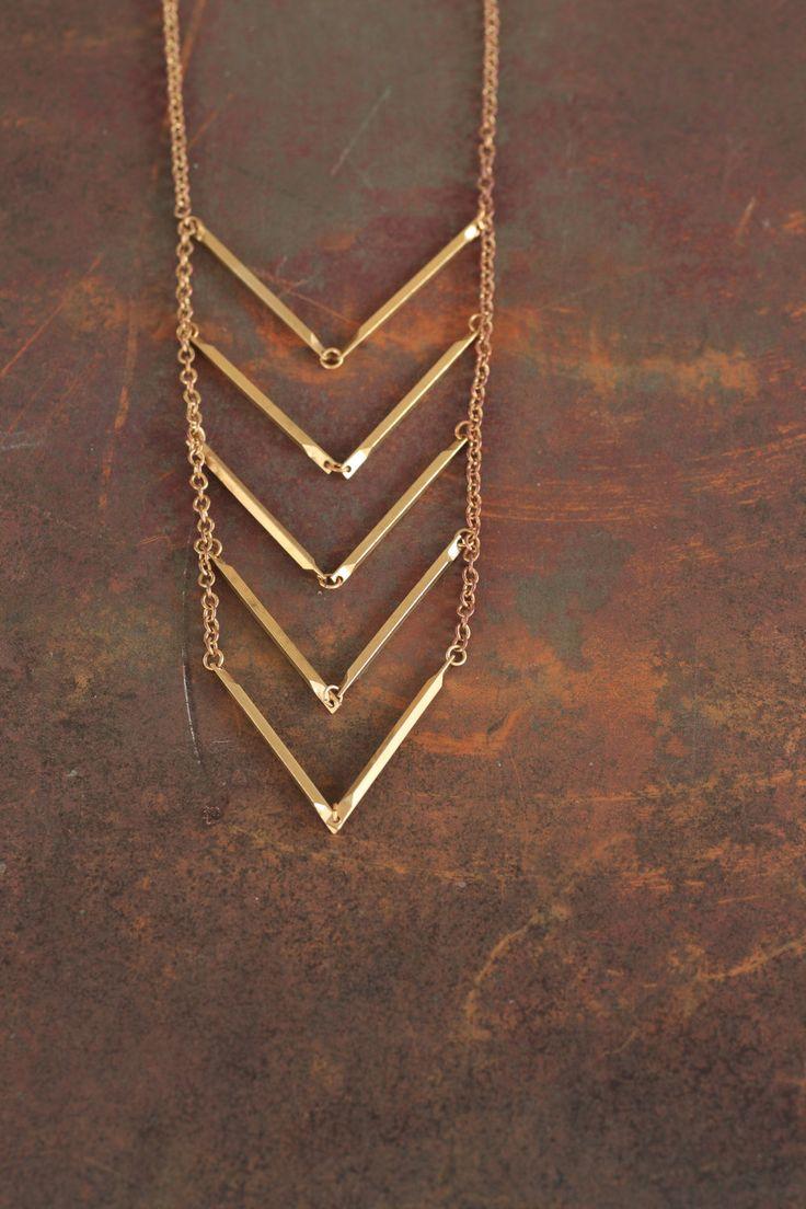 Descent - Brass Chevron Necklace by Prairieoats. $42.00, via Etsy.