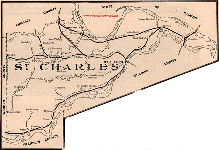 St. Charles, County, Missouri 1904 Map O'Fallon, St. Peters, Wentzville, Foristell, Cottleville, Weldon Springs, Dardenne, Femme Osage, MO