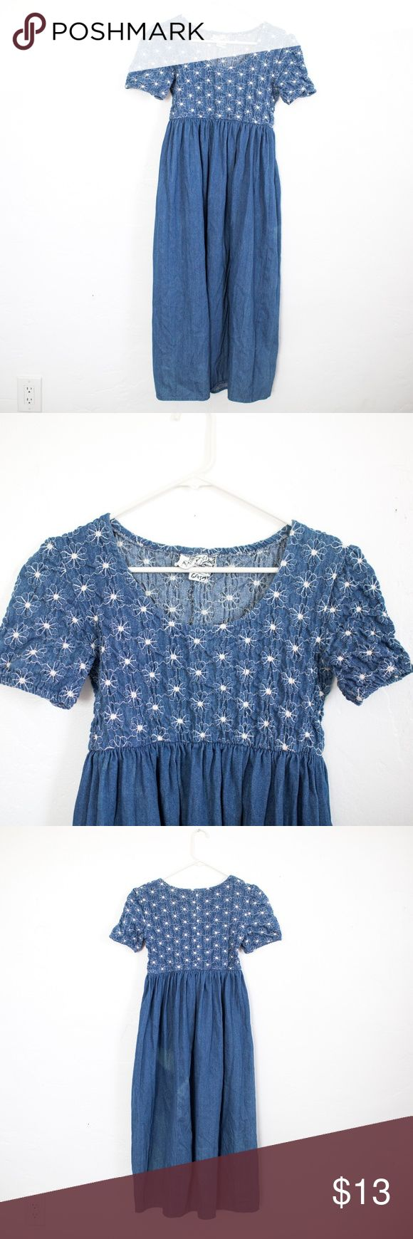 Vintage Denim Midi Dress Vintage babydoll Denim Midi Dress ruched top tag size: 6 There is a stain on the back of the dress- see detail photo Vintage Dresses Midi