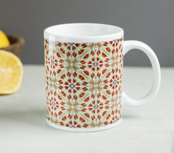 Poppy flower mug red and green mug  mug for by DoodlePippin