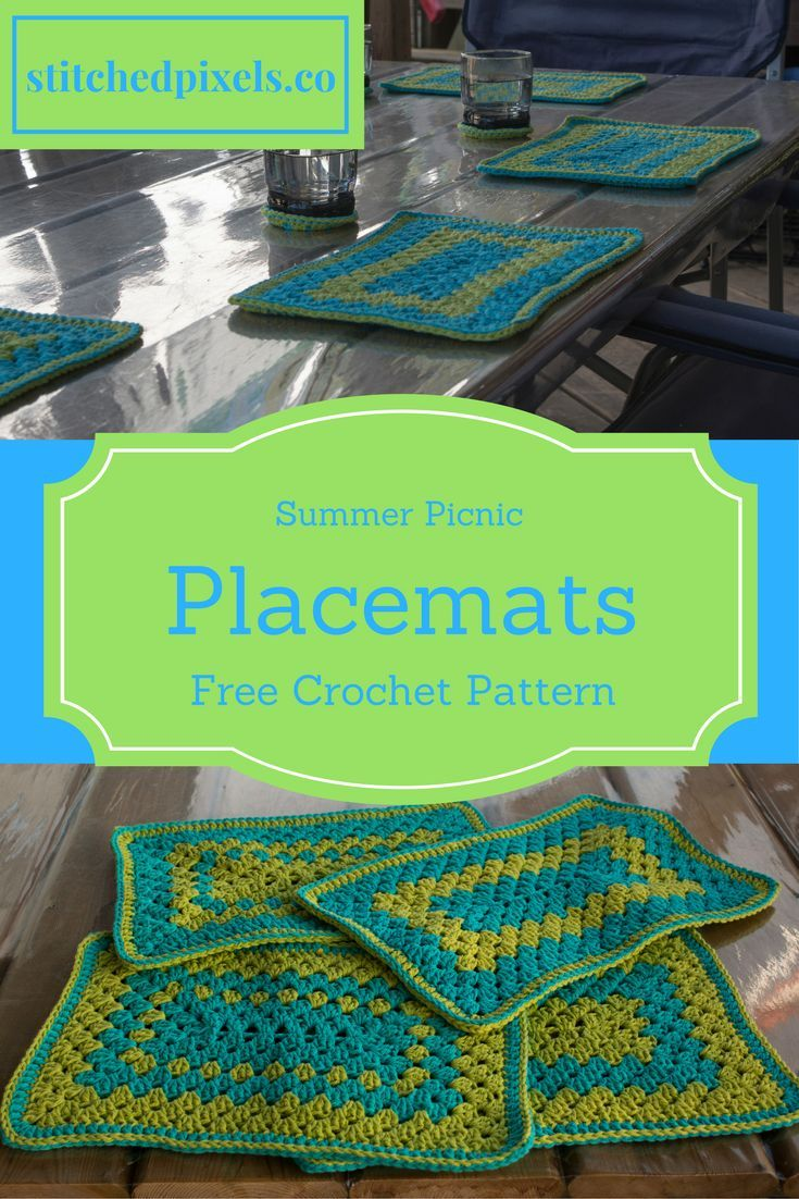 Help dress up your picnic table this summer with these bright and cheerful Summer Picnic Place-Mats!  They are very durable, and perfect from your backyard BBQ to a long weekend at the cottage!  Free pattern on my blog!
