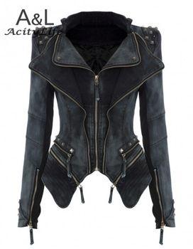 2014 новый зимний S-XL мода звезды джинсы женщин панк шип шипованных плечами плечо джинсовые обрезанные урожай пальто куртки 29