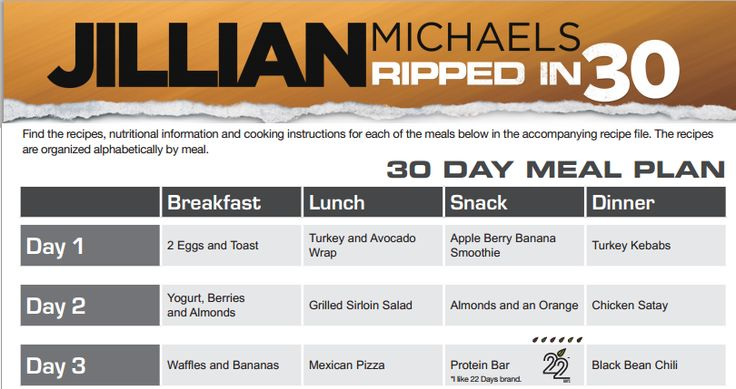 """delightfuleating: """" Click the photo for Jillian's 30 Day Meal Plan free and online! """""""