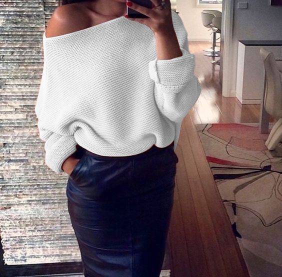 Slash Neck Knitted Sweaters Women Sexy Solid Colors Long Sleeve Pullover Sweater Plus Size Off Shoulder Coarse Lines Loose Tops