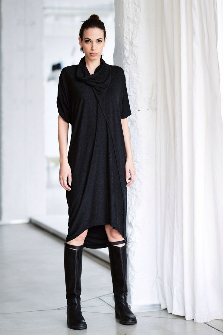 Longue robe / tunique Melange de charbon de bois / lâche Casual Top / drapé robe / tunique par Arya sens / DVLN14BM par AryaSense sur Etsy https://www.etsy.com/ca-fr/listing/180419802/longue-robe-tunique-melange-de-charbon
