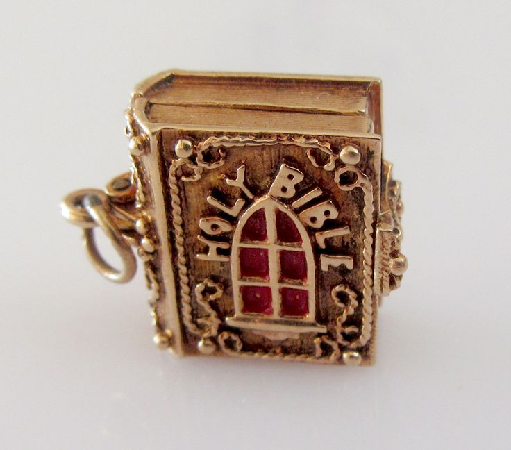 Large 9ct Gold Enamel Nuvo Bible Charm opens to Angel and Crib - RP Birmingham 1972