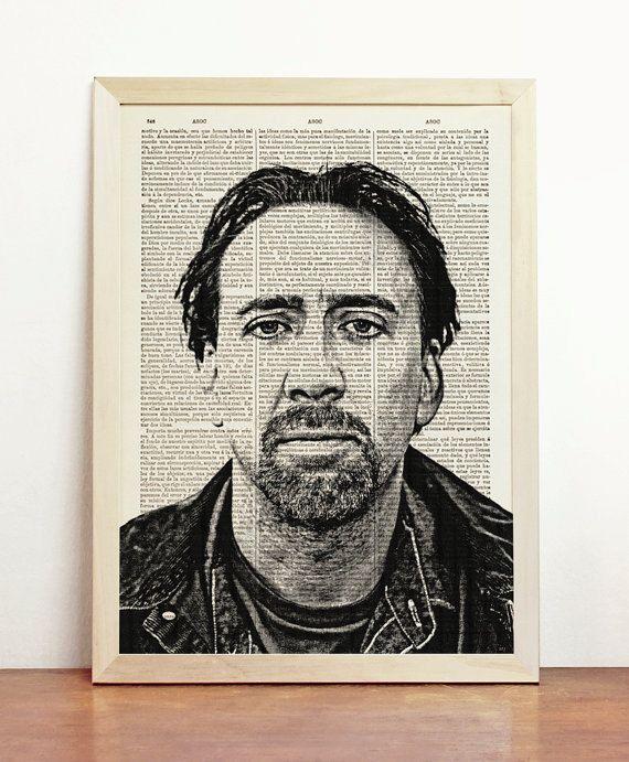 Nicholas Cage Poster Print Kim Coppola Illustration American Actor Celebrity Leaving Las Vegas Art Upcycled Decor Book Dictionary