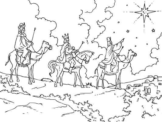 a traditional christmas coloring page of the three wise men following the star to bethlehem