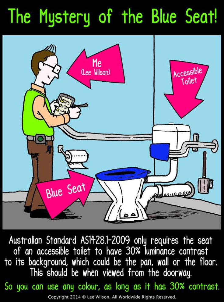 The Mystery of the Blue Seat: Australian Standard 1428.1-2009, Blue Toilet Seats and Accessible Toilets. A brief commentary on the requirement to have an accessible toilet seat that provides a 30% luminance contrast http://leewilson.com.au/2014/09/21/accessible-toilets-blue-seats-and-as1428-1-2009/