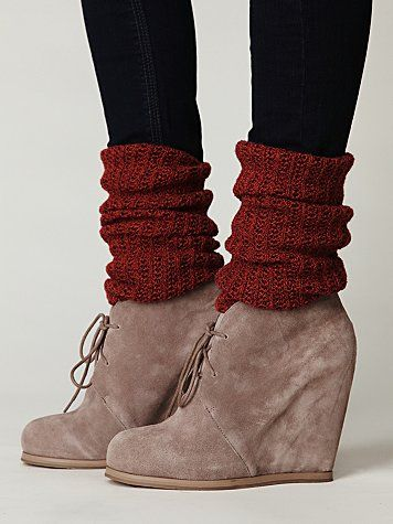 suede wedges, maroon socks - scrunched, and black tights...