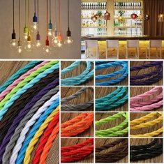 1m millésime tissu tressé de torsion bricolage couleur câble flex fil cordon lampe de lumière électrique