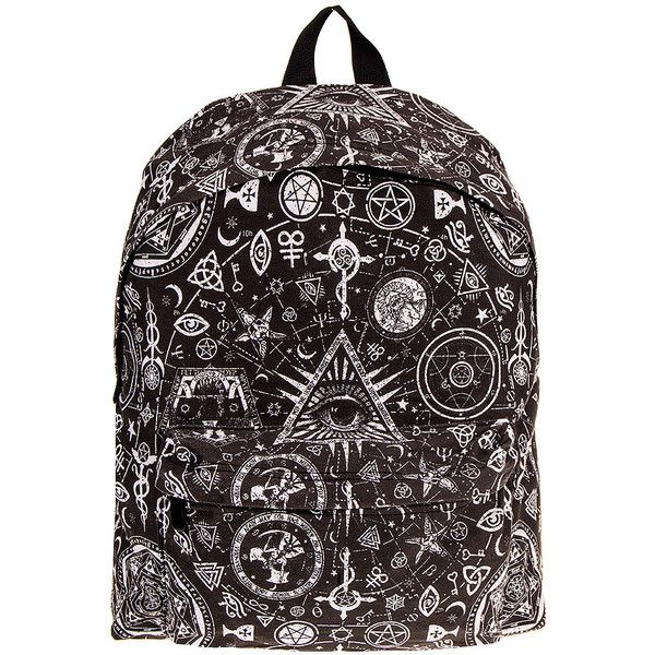 Bleeding Heart Occult Backpack (Black/White) ($22) ❤ liked on Polyvore featuring bags, backpacks, heart bag, backpacks bags, black and white backpack, black white bag and knapsack bags