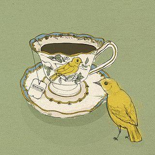 Bird illustration tea