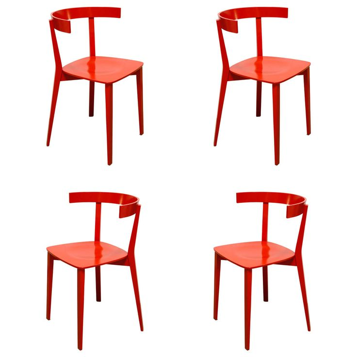Set of Four Red Dining Chairs | From a unique collection of antique and modern chairs at https://www.1stdibs.com/furniture/seating/chairs/