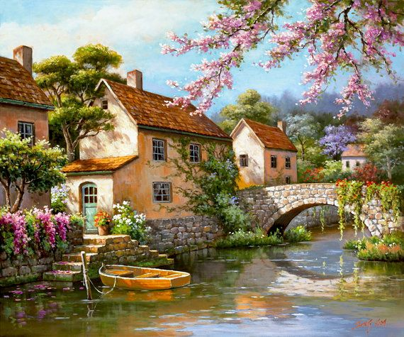 Country Village Canal - Counted cross stitch pattern in PDF format