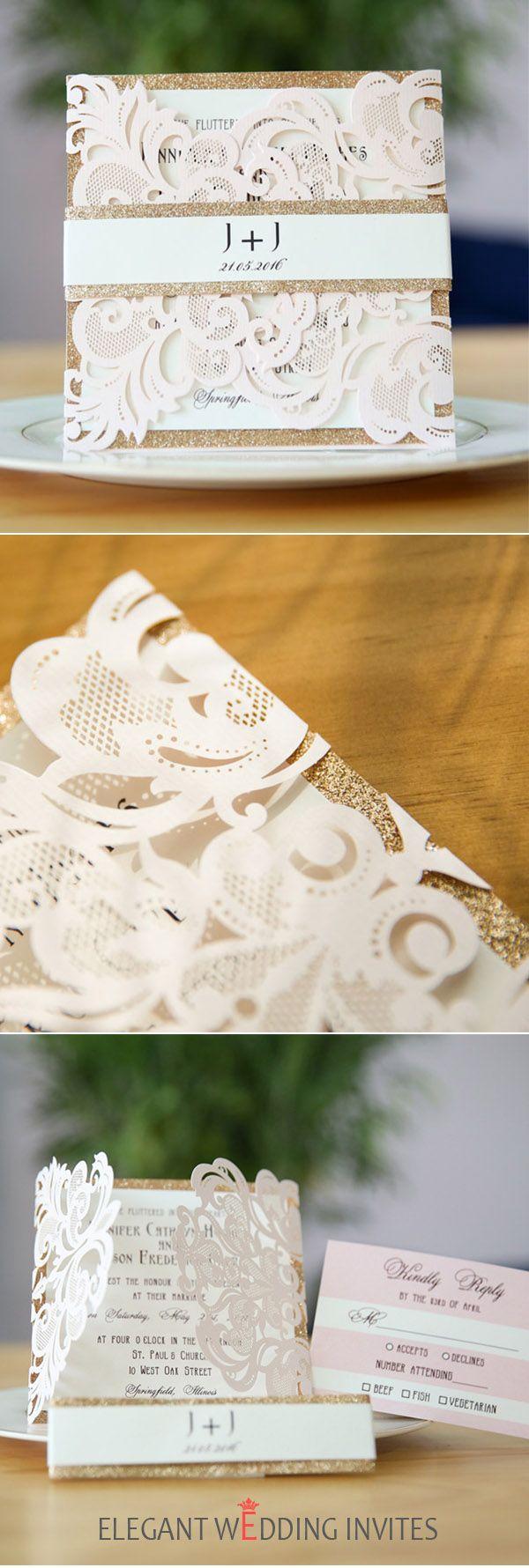 diy wedding invitations elegant%0A elegant blush pink laser cut wedding invitation with rose gold glitter  belly band