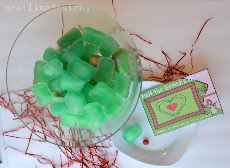 Melt the Grinch's Heart game - freeze heart shaped runts in green water. Have each child pick an ice, and whoever melts theirs the fastest to reveal the heart wins! #grinch #grinchmas