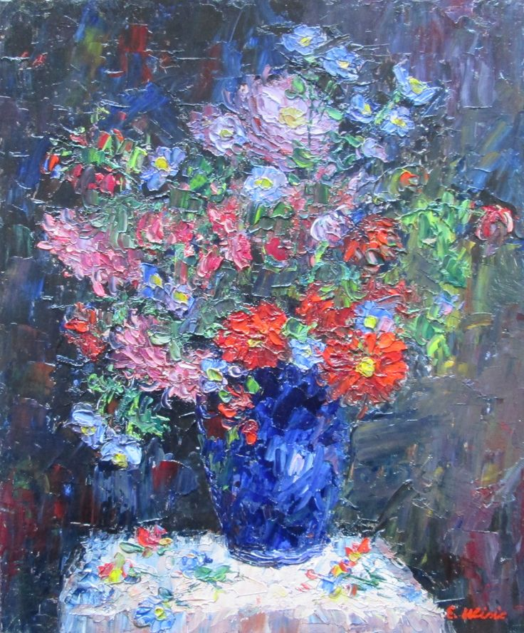 Flower Symphony of Texture and Pattern Original Impressionist Oil Painting by Enoch Hlisic