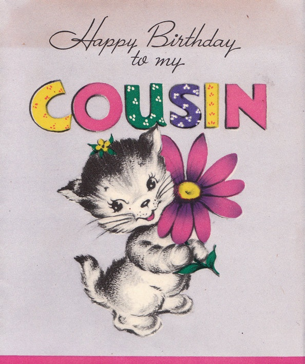Vintage 1940s Happy Birthday To My Cousin Greetings Card (B59)